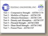 Image of ASTM Test Results for Lompoc Stone Natural Stone